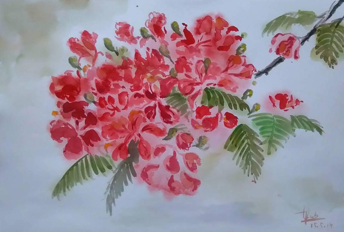 Tranh vẽ bông hoa phượng rất đẹp