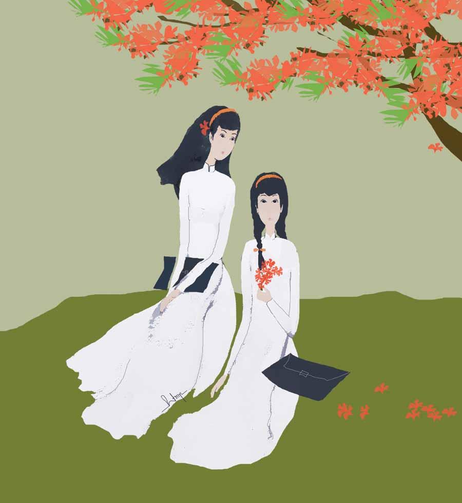 Tranh vẽ hai thiếu nữ và hoa phượng