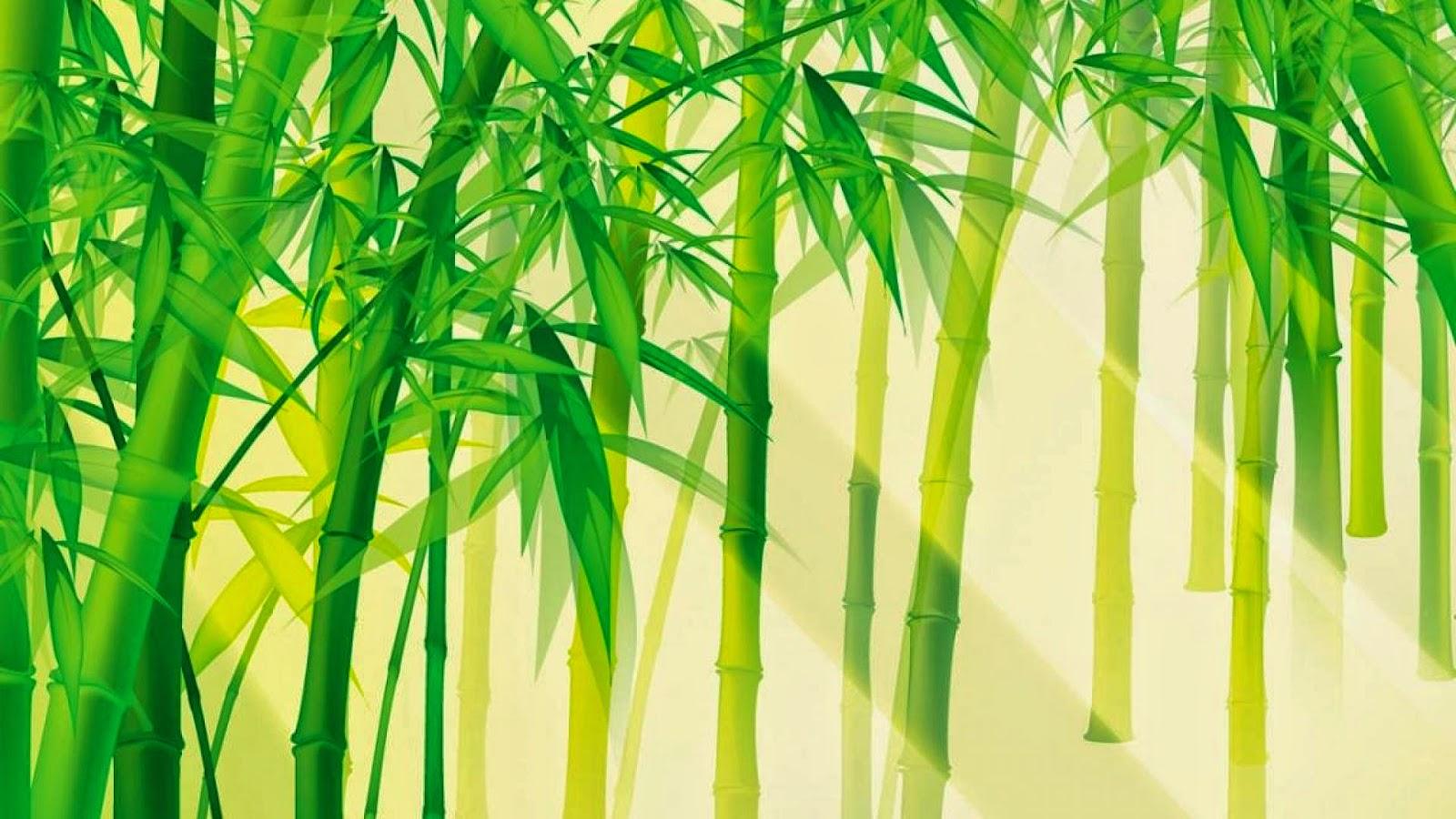 Tranh vẽ tre xanh nắng vàng