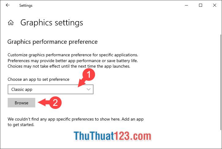 Bạn click và chọn mục Choose an app to set preference thành Classic App