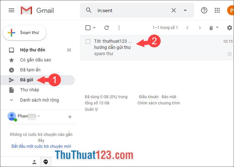 Chọn email vừa gửi