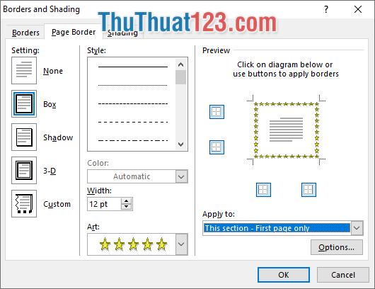 Chọn thẻ Page Border và thiết lập các thông số