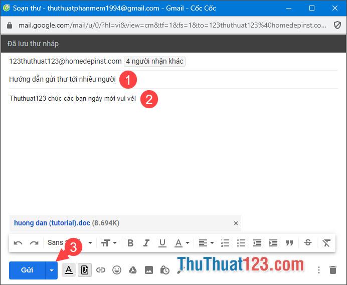 Điền tiêu đề cho email và nội dung, sau đó bấm Gửi
