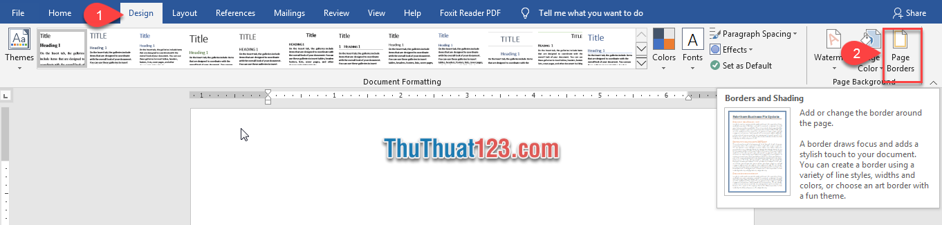 Nhấn chuột vào biểu tượng của Page Borders trong khung Page Background