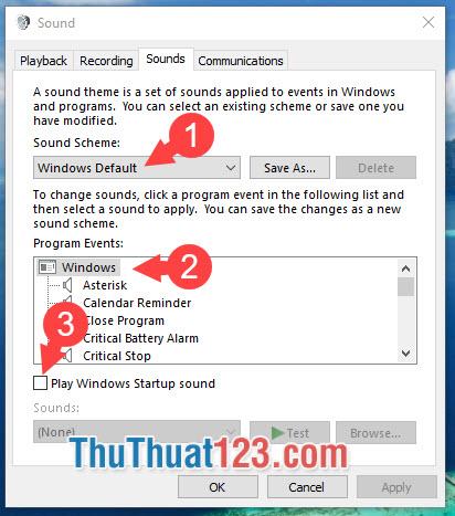 Bạn muốn nghe âm thanh phát ra khi khởi động lại máy tính thì bạn hãy tích vào mục Play Windows Startup sound