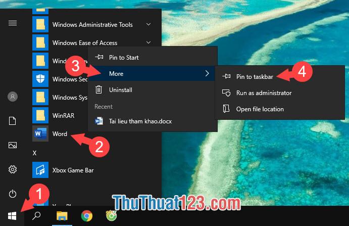 Chọn Pin to taskbar
