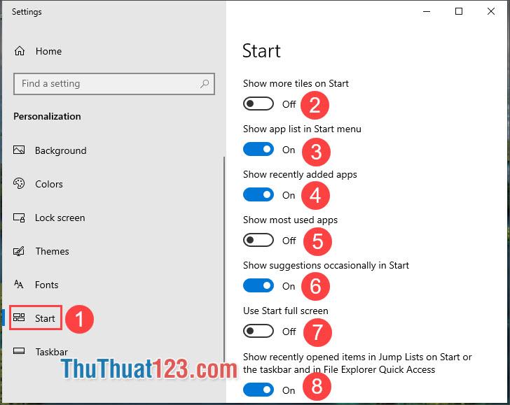 Chuyển qua thẻ Start và thiết lập bật tắt các mục theo sở thích