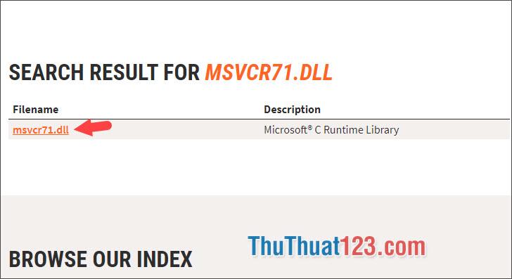 Click vào file dll cần tìm ở danh sách bên dưới