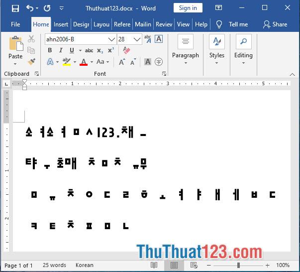 Font chữ tiếng Hàn ahn2006-B