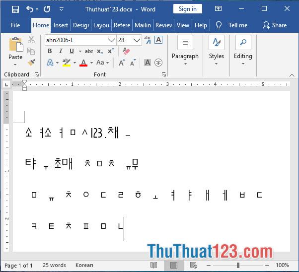 Font chữ tiếng Hàn ahn2006-L