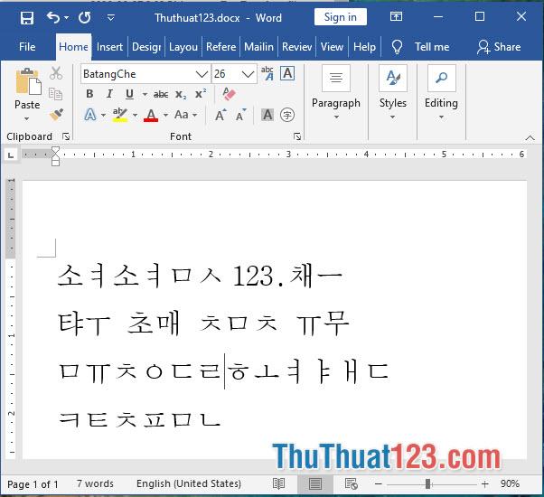 Font chữ tiếng Hàn BatangChe