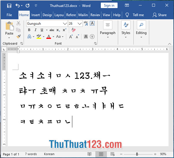 Font chữ tiếng Hàn Gungsuh