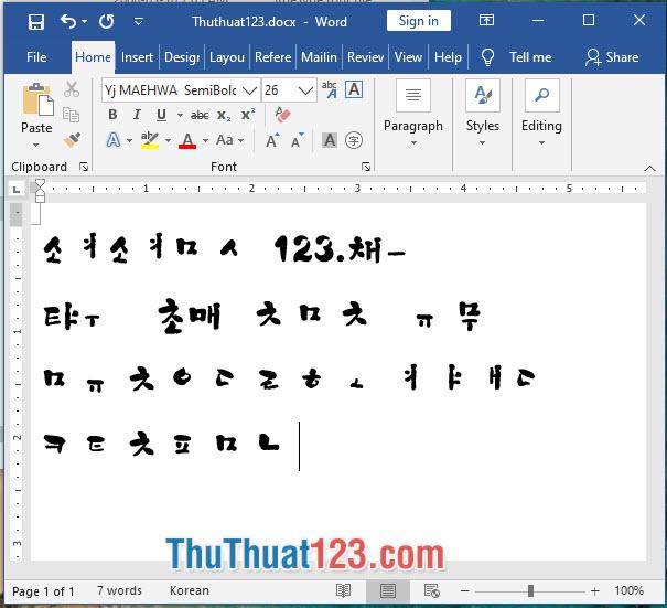 Font chữ tiếng Hàn Yj MAEHWA SemiBold