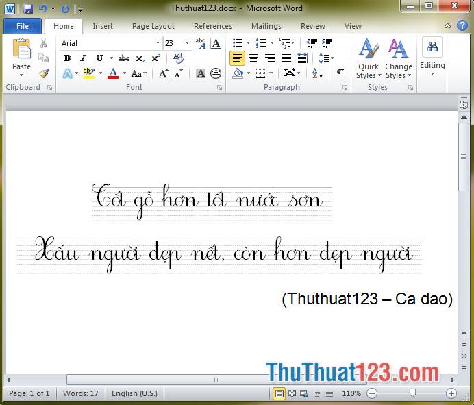Font chữ tiểu học HP001 4 hàng 2 ô ly