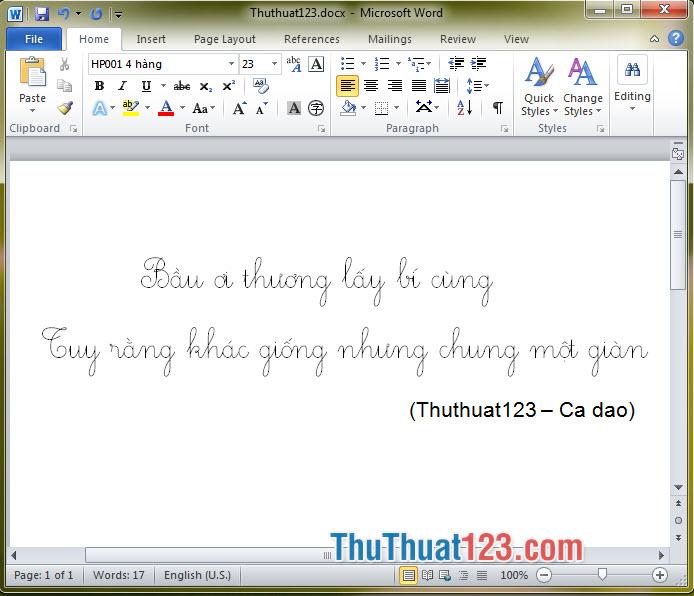 Font chữ tiểu học HP001 4 hàng