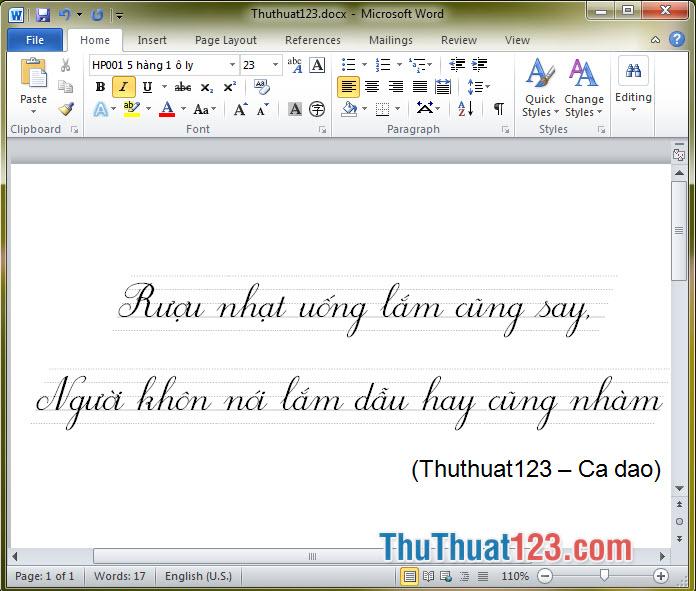 Font chữ tiểu học HP001 5 hàng 1 ô ly