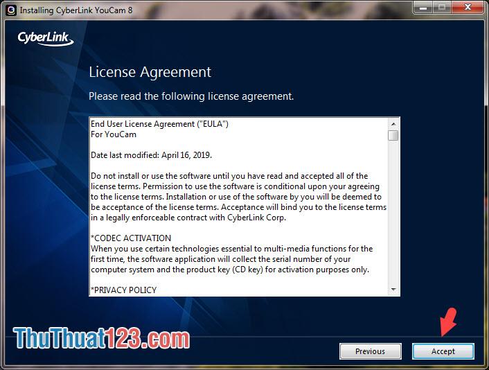 Nhấn vào Accept để đồng ý với các điều khoản