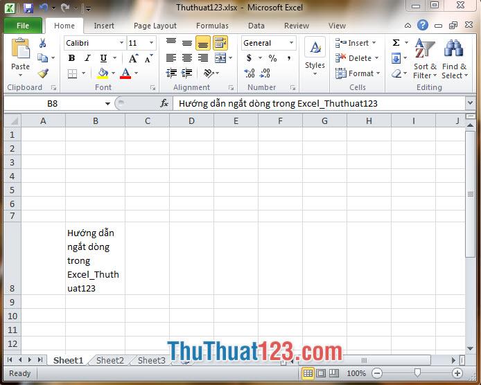Sau khi hoàn thành xong thì dòng chữ trên Excel của bạn sẽ tự động xuống 1 dòng và không ảnh hưởng tới dòng khác