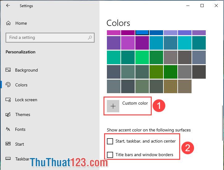 Với phần Show accent color on the following surfaces sẽ giúp bạn áp dụng màu nền cho những mục như Start menu, taskbar, action center hay thanh tiêu đề, viền cửa sổ