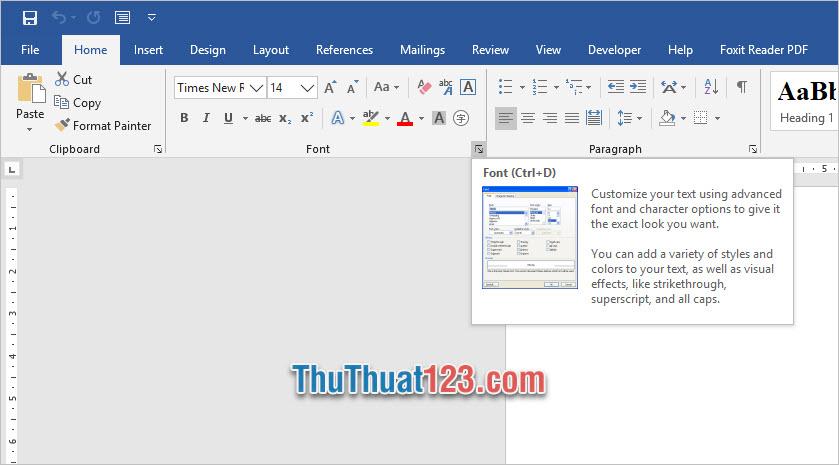 Bạn có thể đổi tùy chọn Font bằng cách mở ribbon Home trên thanh công cụ