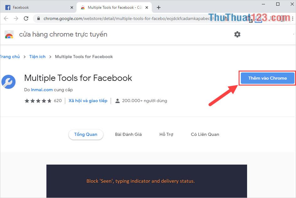 Các bạn tiến hành truy cập trang chủ và chọn Thêm vào Chrome để tiến hành cài công cụ này vào trình duyệt