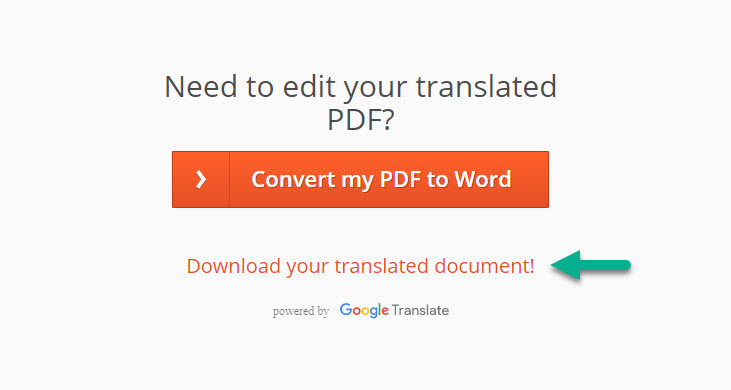 Click vào Download your translated document để tải file PDF đã được dịch về