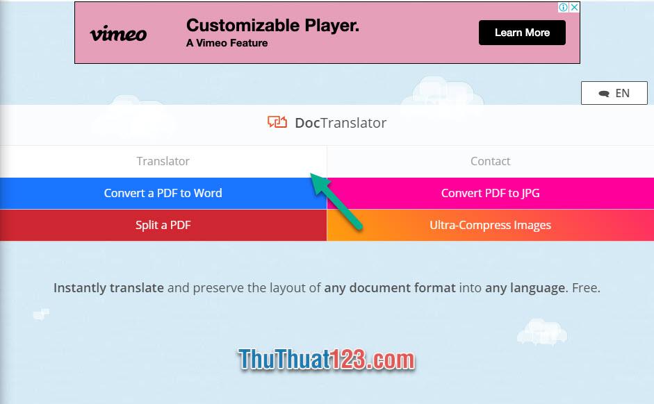 Click vào Translator trong những danh sách tùy chọn của DocTranslator