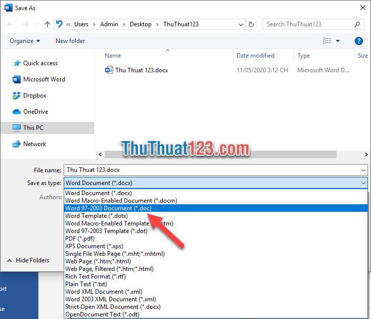 Đổi Save as type thành Word 97-2003 Document