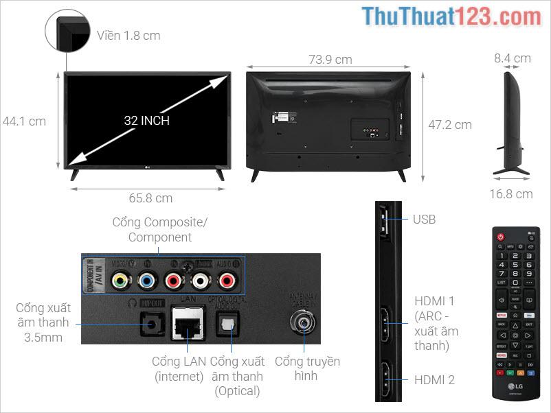 Kích thước dòng Tivi 32 Inch (Nhỏ nhất)