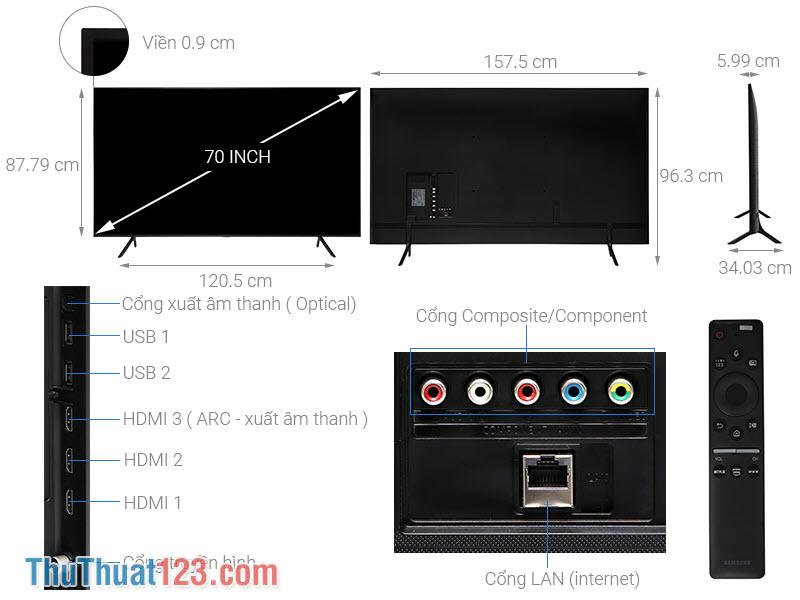 Kích thước dòng Tivi 70 Inch