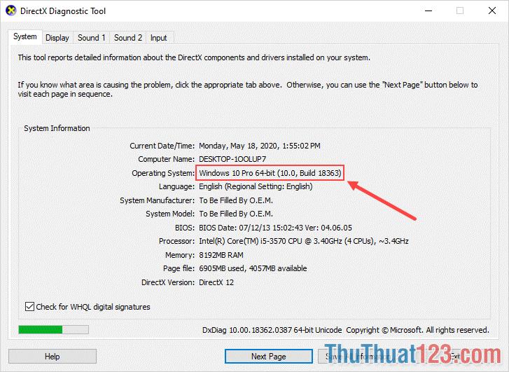 Mục Operating System sẽ hiển thị phiên bản bit Windows của các bạn