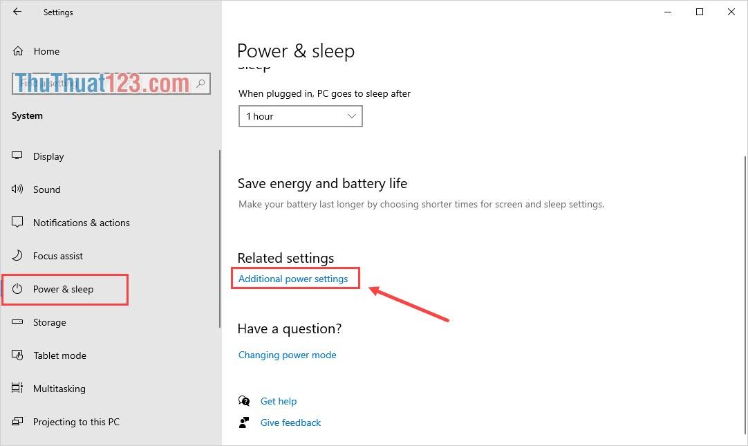Tìm đến mục Additional power settings