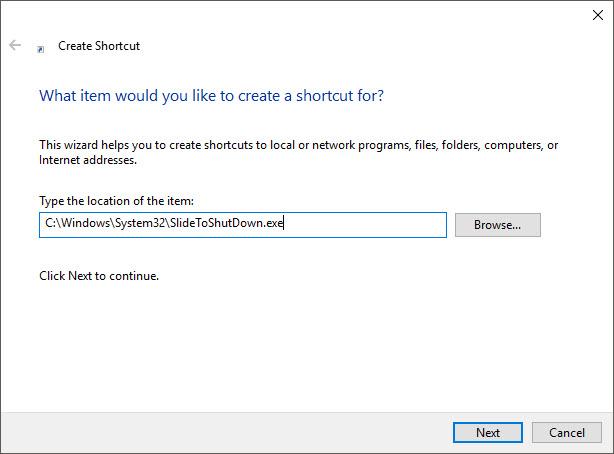 Click vào Browse để tìm đường dẫn tới chức năng tắt máy trong máy tính