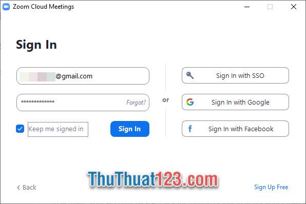 Có thể đặt dấu tích trước Keep me signed in để lưu tài khoản đăng nhập cho lần sau