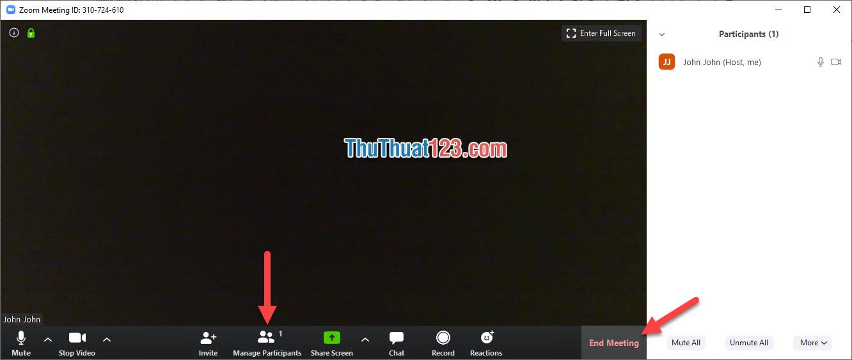 Để kết thúc và đóng phòng chat lại các bạn click vào End Meting