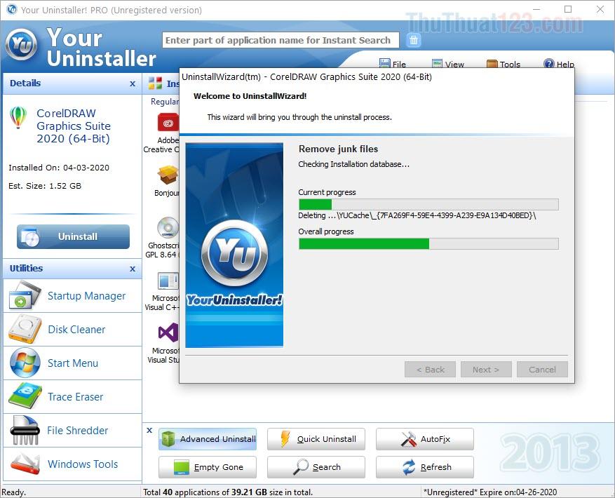 Hệ thống sẽ tự động xoá toàn bộ những Registry có liên quan đến phần mềm các bạn đang gỡ
