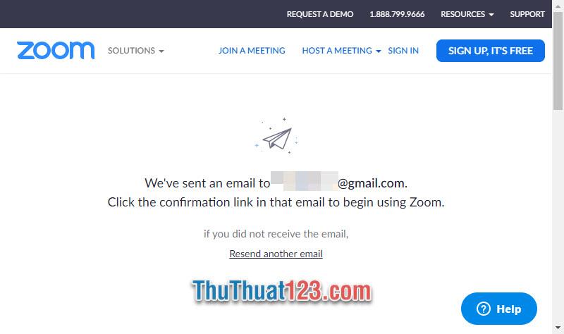 Zoom sẽ gửi một bức thư xác nhận tài khoản vào địa chỉ mail mà bạn vừa đăng ký