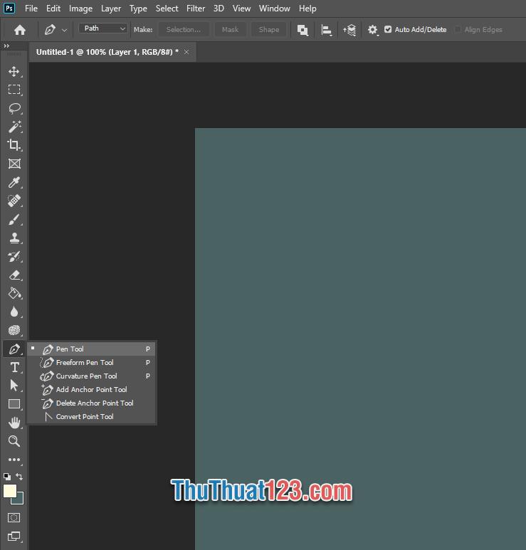 Click chuột phải vào Pen Tool và chọn các chức năng khác liệt quan tới việc vẽ đường cong bằng vector