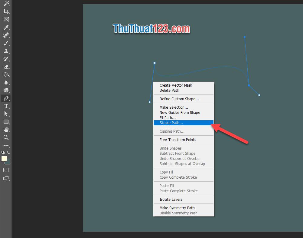 Chọn Stroke Path trong danh sách tùy chọn vừa hiển thị