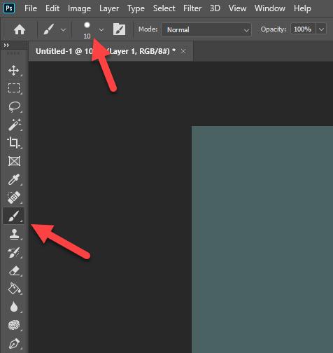 Click vào biểu tượng Brush trên thanh công cụ của Photoshop rồi click vào biểu tượng size trên thanh công cụ ngang của Brush