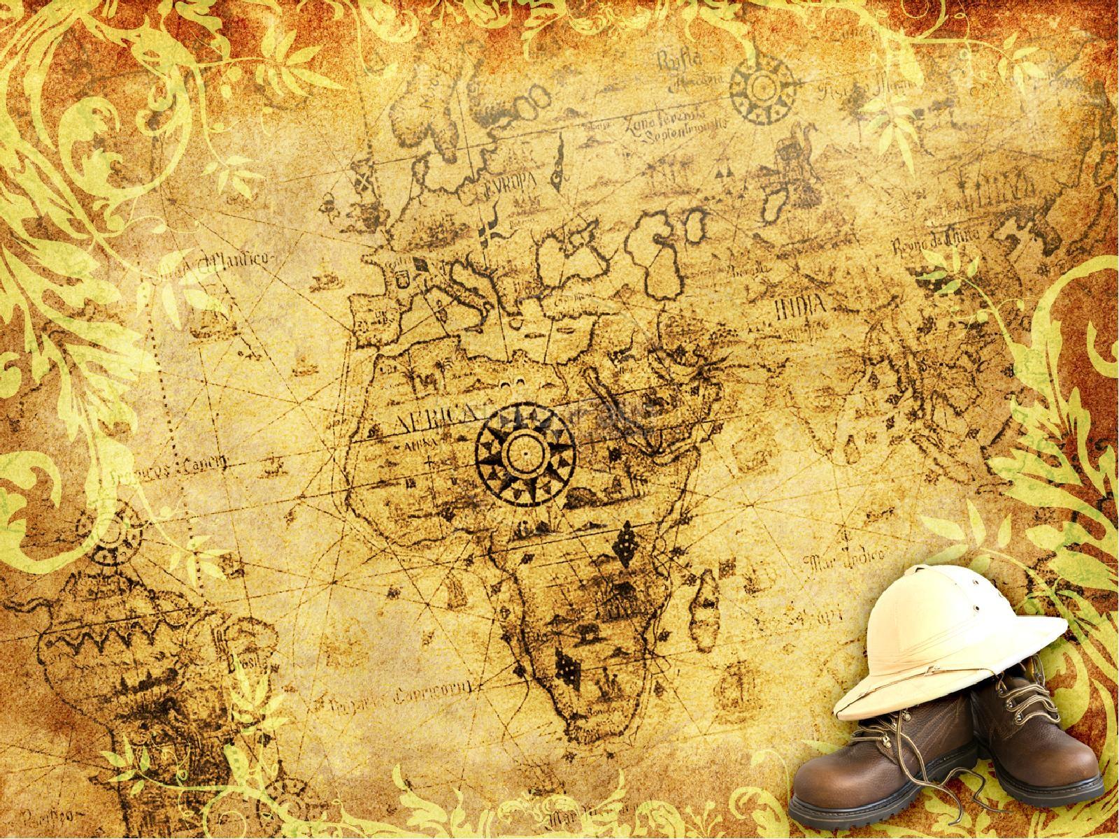 Hình nền powerpoint bản đồ thế giới mũ cối và đôi giầy
