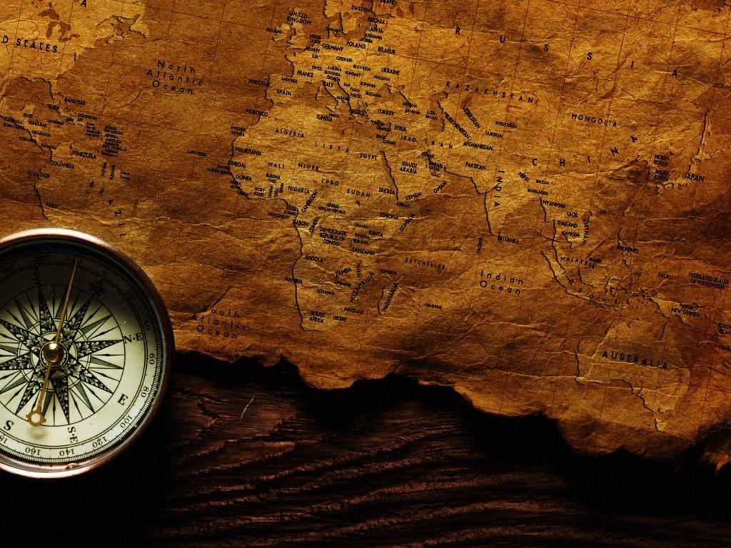 Hình nền powerpoint đẹp bản đồ và la bàn