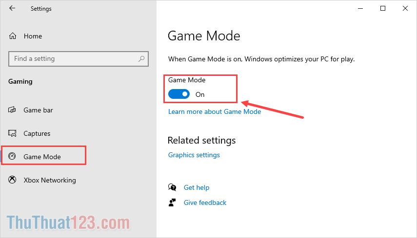 Chọn mục Game Mode và kích hoạt tính năng này