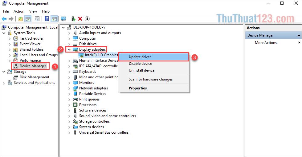 Click chuột phải vào mục Card màn hình bên trong và chọn Update Drivers để chúng tự động cập nhật
