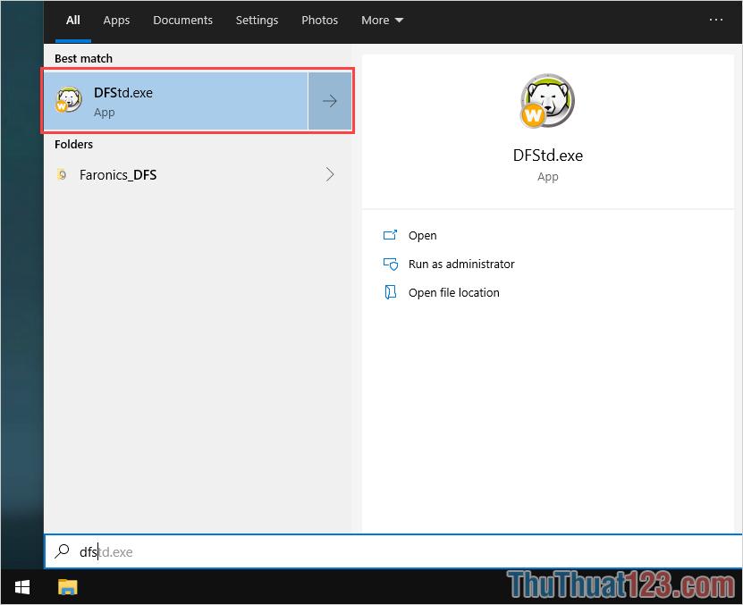 Nhập DFStdexe để mở phần mềm xoá ứng dụng