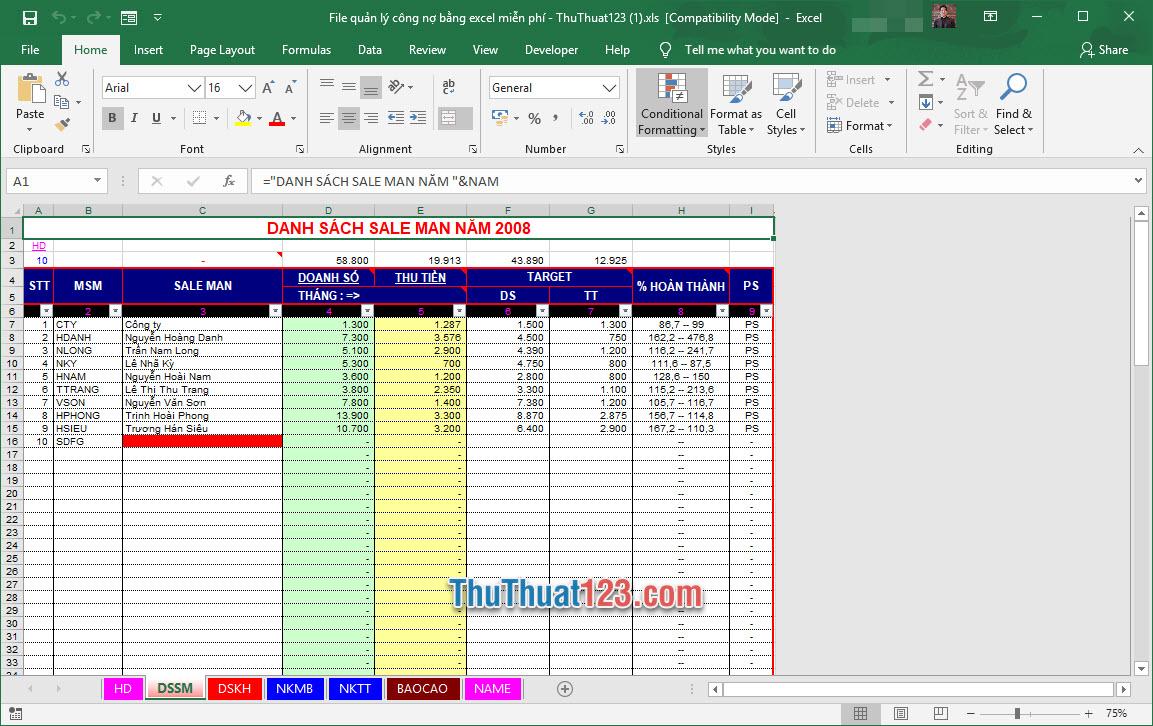 Demo file quản lý công nợ Excel miễn phí 2