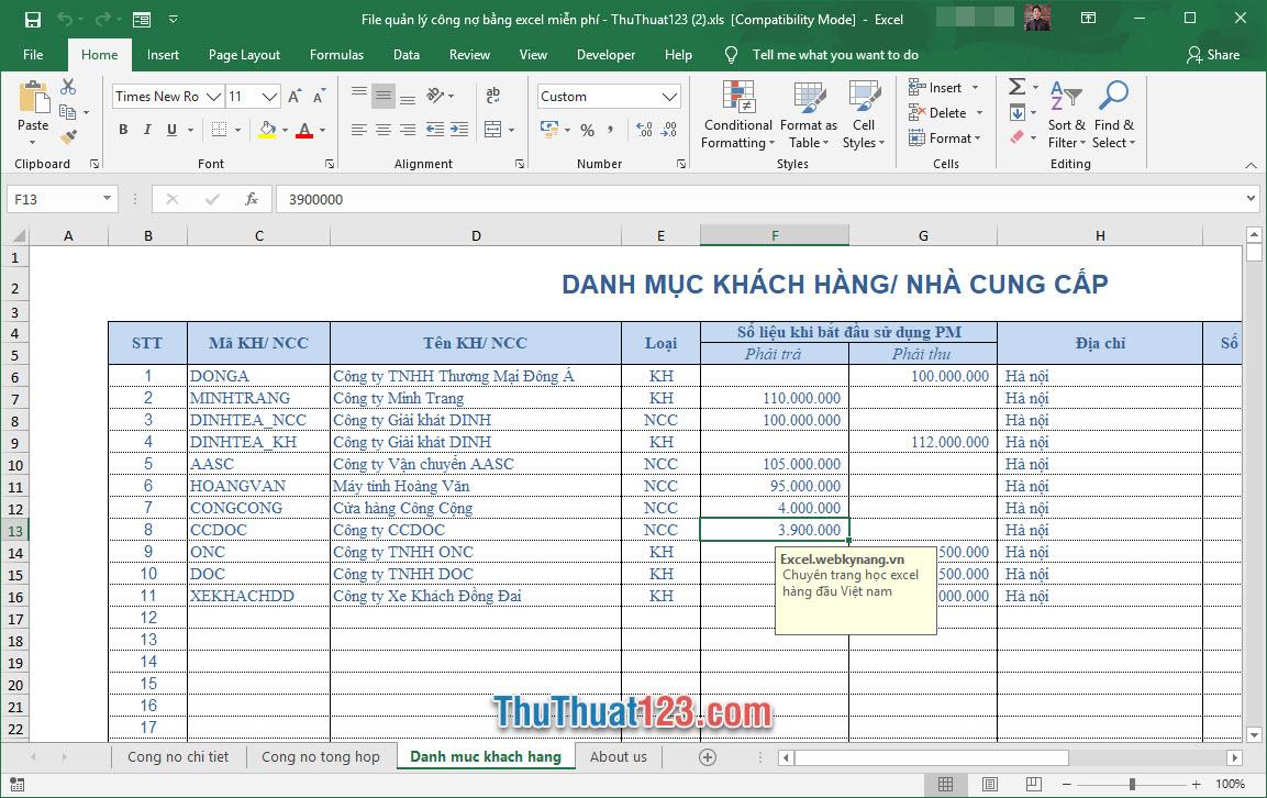 Demo file quản lý công nợ Excel miễn phí 6