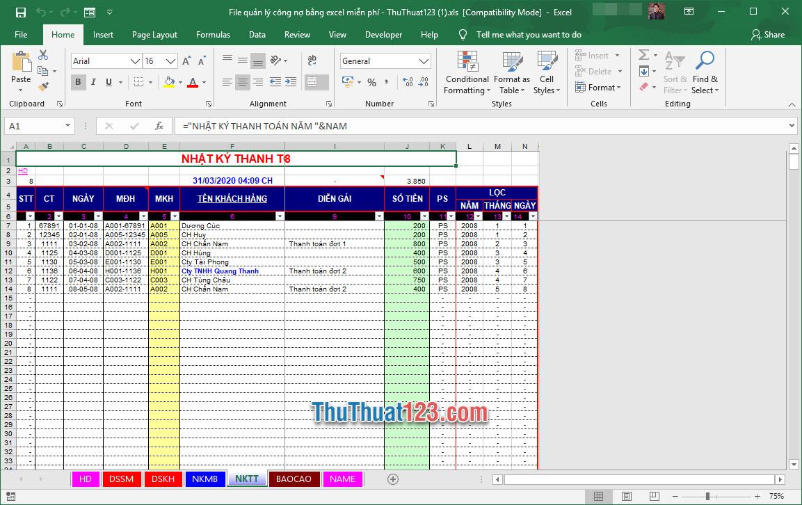 Demo file quản lý công nợ Excel miễn phí