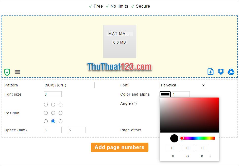 Click vào Add page number để thêm số trang