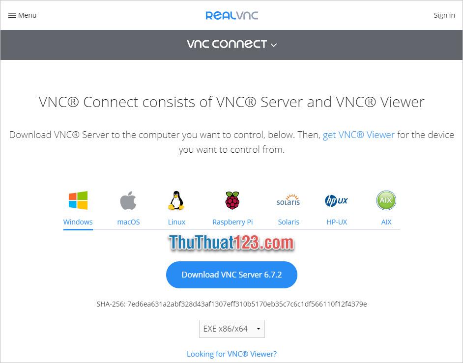 Click vào Download VNC Server
